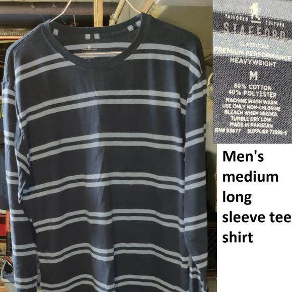 Stafford Men/'s T-Shirt LS Navy Crewneck Cotton Polyester Small S Shirt